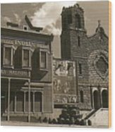 Holy Angel's Catholic Church Rectory  Belles Indian Saloon   The Great White Hope Set Globe Az 1969 Wood Print