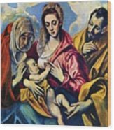 Holy Family With St Anne Wood Print