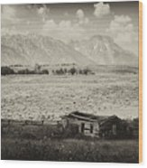 Homestead In The Grand Tetons Wood Print