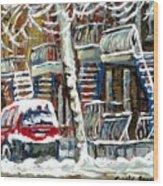 Achetez Les Meilleurs Peintures De Scenes De Montreal En Hiver Winter Scene Paintings Wood Print