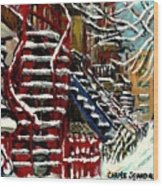 Escaliers De Montreal Ville De Verdun Best Original Montreal Paintings On Sale Peintures  Wood Print