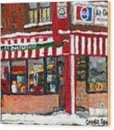 Original Montreal Paintings For Sale Peintures A Vendre Restaurant La Quebecoise Deli Wood Print