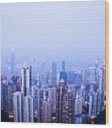 Hong Kong Skyline Wood Print by Ray Laskowitz - Printscapes