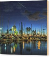 Honolulu Harbor By Night Wood Print