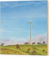 Horizontal Axis Wind Turbines. Panorama Wood Print