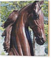Horse Head In Bronze Wood Print