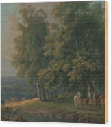 Horses And Cattle By A River Wood Print