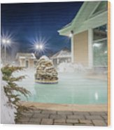 Hot Tubs And Ingound Heated Pool At A Mountain Village In Winter Wood Print