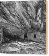House On Fire Ruin Utah Monochrome 2 Wood Print
