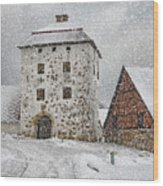 Hovdala Castle Gatehouse In Winter Wood Print
