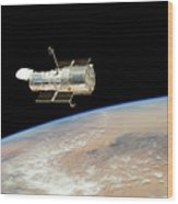 Hubble At Work Wood Print