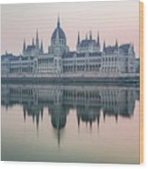 Hungarian Parliament In The Morning Wood Print