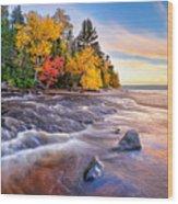 Hurricane River Sunset Wood Print