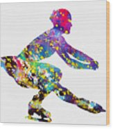 Ice Skater-colorful Wood Print