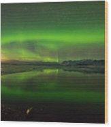 Iceland Aurora Reflection Wood Print