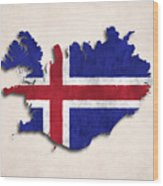 Iceland Map Art With Flag Design Wood Print