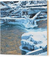 Icy Blue River Wood Print