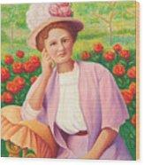 Ida In The Garden Wood Print
