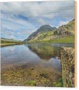 Idwal Lake Snowdonia Wood Print by Adrian Evans