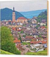 Idyllic Alpine Town Of Kastelruth On Green Hill View Wood Print
