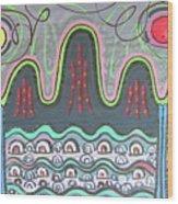 Ilwolobongdo Abstract Landscape Painting Wood Print