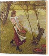 In The Orchard Haylands Graffham Henry Herbert La Thangue Wood Print