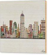 Indianapolis Indiana Skyline Wood Print
