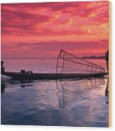 Inle Lake Fisherman Wood Print