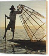 Inle Lake Fisherman Wood Print