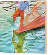 Inle Lake Leg-rower Wood Print