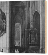 Interior Of A Gothic Church At Night Wood Print