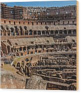 Interior Of The Coliseum, Rome, Italy Wood Print