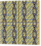 Iron Chains With Glazed Tiles Seamless Texture Wood Print