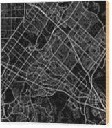 Irvine California Usa Dark Map Wood Print