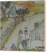 Italian  Landscape Scroll Wood Print