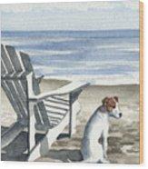 Jack Russel Terrier At The Beach Wood Print