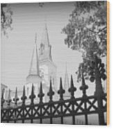 Jackson Square Fence With St. Louis Cathedral In Background Wood Print