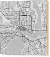 Jacksonville Florida Usa Light Map Wood Print