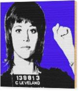 Jane Fonda Mug Shot - Blue Wood Print