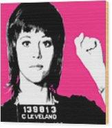 Jane Fonda Mug Shot - Pink Wood Print