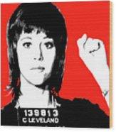 Jane Fonda Mug Shot - Red Wood Print