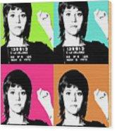 Jane Fonda Mug Shot X4 Wood Print