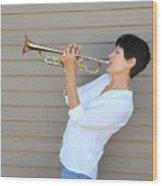 Jazz Trumpet Player. Wood Print