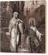 Jesus And The Woman Of Samaria Wood Print