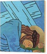 Jesus Falls Wood Print