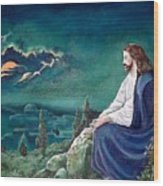 Jesus Praying Wood Print