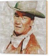 John Wayne By Mary Bassett Wood Print