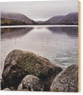 Jordan Pond Wood Print by Chad Tracy