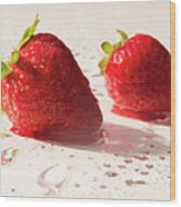 Juicy Strawberries Wood Print