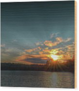 June Sunset On Nicks Lake Wood Print